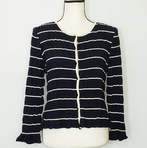 ST JOHN striped round neck crinkle knit cardigan